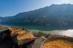Hubei Yiling le fleuve Yangtze Three Gorges Dengying Xia dans l'atelier de vin de cottage de Wang de Ba de ` de personnes de Thre Photographie stock