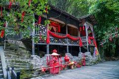 Hubei Yiling o Rio Yangtzé Three Gorges Dengying Gap no ` casado de grito do assoalho do ` da menina de Tujia do rio de Longjin Imagem de Stock Royalty Free