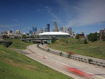 Hubert H. Humphrey Metrodome at day time with movi Stock Photography