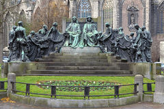 Hubert and Jan van Eyck Monument in Ghent, Belgium. Hubert and Jan van Eyck Monument near the St. Bavo Cathedral in Ghent, Belgium Stock Photo