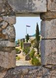 Hublot au vieux fort dans le fractionnement, Croatie Photo libre de droits