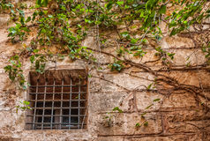 Hublot avec des bars d'une construction médiévale Image libre de droits