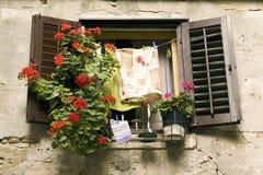 Hublot avec les fleurs et la blanchisserie Photo stock