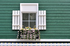Hublot décoré d'architecture verte Photographie stock