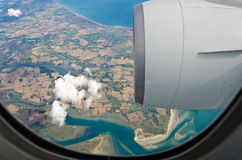 Hublot de Boeing 777 Photos libres de droits