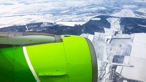 Hublot de fenêtre de vue d'avion banque de vidéos