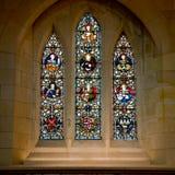 Hublot de verre coloré dans la cathédrale de Christchurch Photo stock