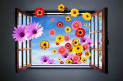 Hublot des fleurs Photos stock