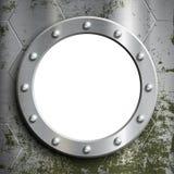 Hublot en métal avec des rivets Fenêtre sur un sous-marin vec courant Images libres de droits