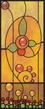 Hublot en verre souillé d'ornement floral Illustration Stock