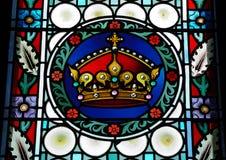 Hublot en verre souillé dans la cathédrale de St.Vitus, Prague Photos stock