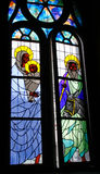 Hublot en verre souillé - naissance de Jésus Images libres de droits