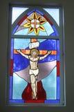 Hublot en verre souillé religieux Image stock