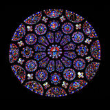 Hublot en verre souillé rond, Chartres Photos stock