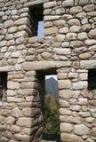 Hublot et trappe dans la construction de Machu-Picchu Images stock