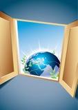 Hublot à un monde neuf Image stock