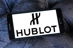 Hublot watchmaker logo. Logo of Swiss luxury watchmaker company Hublot on samsung mobile Stock Images