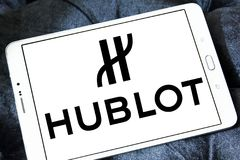 Hublot watchmaker logo. Logo of Swiss luxury watchmaker company Hublot on samsung tablet Stock Image