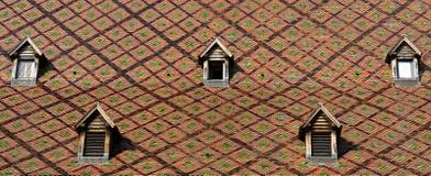 Hublots de Dormer sur les toits de la ville de Besançon image stock