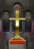 Hublots en verre souillés d'église chrétienne Image stock