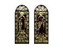 Hublots en verre souillés religieux, cathédrale Photo stock