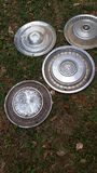 Hubs. Vintage hubcap collection royalty free stock photography