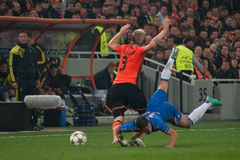 Hubschman against Hazard. Hubschman fights for the ball with Hazard during the match between Shakhtar (Donetsk, Ukraine) vs Chelsea (London, England) October 23 stock photography