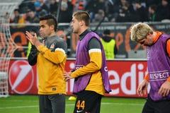 Hubschman, Teixeira y Rakitskiy antes del partido de la Champions League Imágenes de archivo libres de regalías