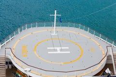 Hubschrauber-Auflage über Aqua Water Stockfoto