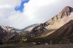 Hubschrauber bei Aconcagua Stockbild