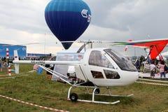 Hubschrauber Orlan am internationalen Luftfahrt-und Raum-Salon stockbilder
