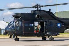 Hubschrauber Royal Air Forces RAF Aerospatiale SA-330E Puma-HC2 bei RAF Waddington Lizenzfreie Stockfotografie