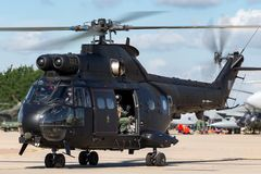 Hubschrauber Royal Air Forces RAF Aerospatiale SA-330E Puma-HC2 bei RAF Waddington Lizenzfreies Stockbild