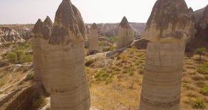 Hubschrauber- und Cappadocia-Felsen stock footage