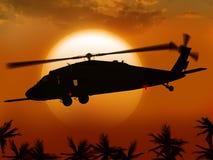 Hubschrauber und Sonne lizenzfreie stockbilder