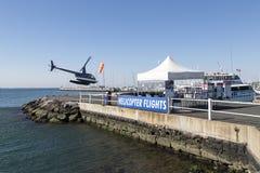 Hubschrauberflüge von Geelong-` s Jachthafen Lizenzfreie Stockfotos