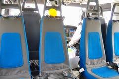 Hubschrauberinnenraum und Sitz für Passagier, Sitz und Sicherheitsgurt im Innenraum des Hubschraubers Lizenzfreies Stockfoto