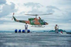 Hubschrauberlandung Stockbild