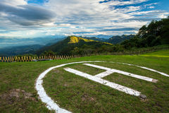 Hubschrauberlandung auf Hügel Lizenzfreies Stockfoto