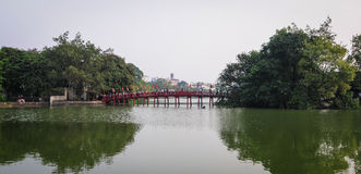 Huc桥梁在河内市,越南 库存照片