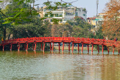 Huc bridge at Hoan Kiem lake, Hanoi, Vietnam Royalty Free Stock Photos