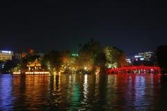 The Huc Bridge and Hoan Kiem Lake Stock Photos