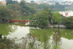 The Huc bridge on the Hoan Kiem Lake Royalty Free Stock Photo