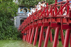 Huc Bridge Over Hoan Kiem Lake Royalty Free Stock Photo