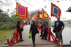 Huc Bridge over Hoan Kiem lake Royalty Free Stock Photography