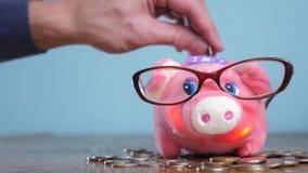 Hucha con concepto del financiero del contable de los vidrios Dinero y hucha crecientes del paso de la pila de la pila del dinero almacen de video