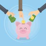 Hucha con el dinero Imagen de archivo libre de regalías