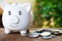 Hucha con el ojo del dólar y la pila de moneda para el concepto de ahorro del dinero fotos de archivo