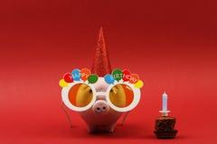 Hucha con feliz cumpleaños de las gafas de sol, el sombrero del partido y la torta de cumpleaños con la vela en fondo rojo Imagenes de archivo