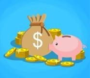 Hucha con las monedas y el bolso de oro del dinero ilustración del vector